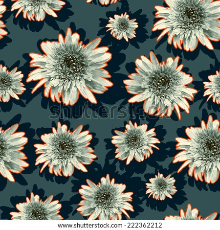 Floral outline pattern,retro style on dark background,bright color outline flowers,seamless - stock photo