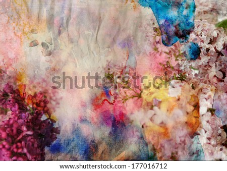 floral painting on grunge paper texture - mixed technique - stock photo