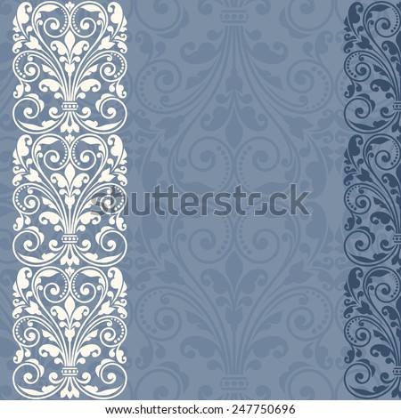 Floral pattern for invitation or greeting card. Raster version. - stock photo