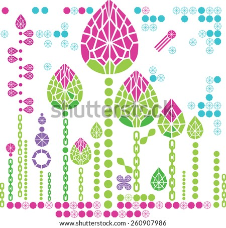 floral pattern from diamond design elements - stock photo