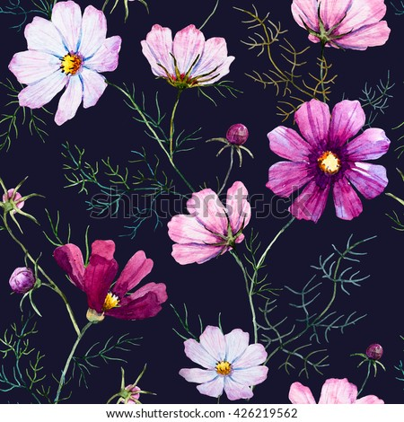 Floral pattern kosmeya, botanical pattern, delicate pink and white flowers, wild flowers, black background - stock photo