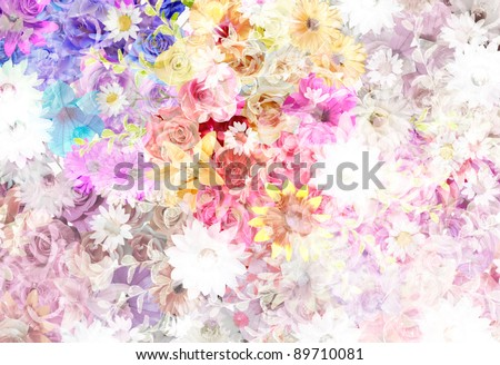 floral pattern (mixed color) - stock photo
