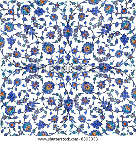 Floral pattern on turkish tiles found in Rustempasa Mosque in Istanbul Turkey - stock photo