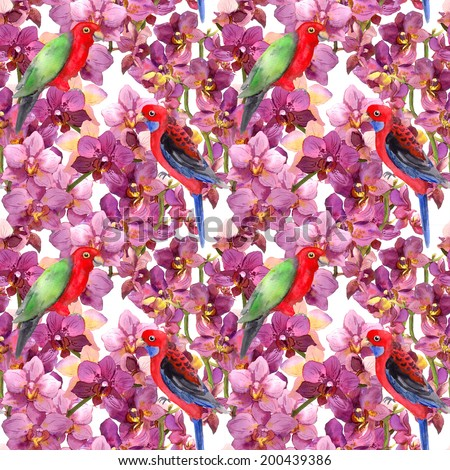 Floral pattern - parrot bird, orchid flowers in blossom. Seamless pattern. Watercolor.  - stock photo