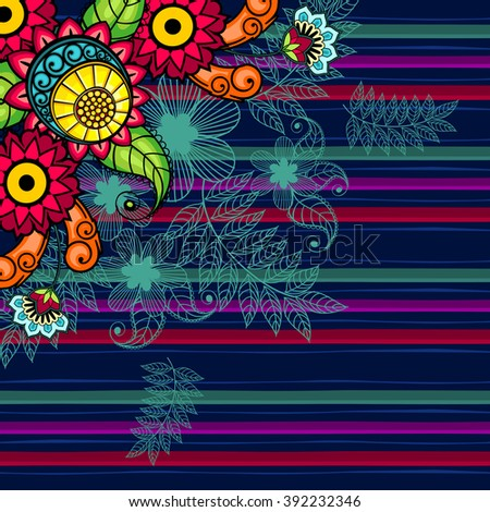 Floral Pattern pattern Seamless floral pattern bright colors and stripes - stock photo