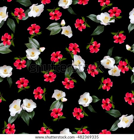 Floral pattern red flowers white flowers on a black background new idea for floral