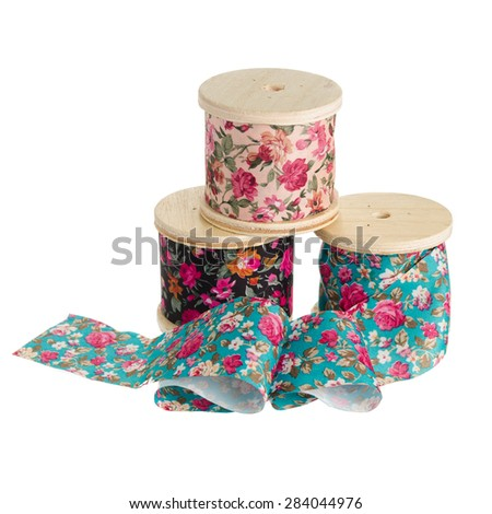 Floral Pattern ribbon rolls isolated on white background