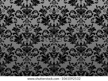 Vintage Wallpaper In The Baroque Style Seamless Background Black Ornament For