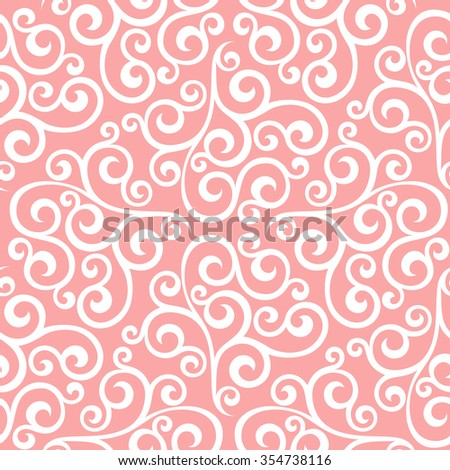 Floral pattern. Wallpaper baroque, damask. Seamless  background. Pink and white ornament