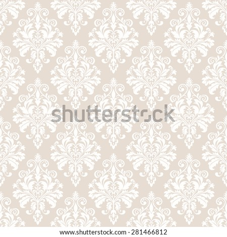 Floral pattern. Wallpaper baroque, damask. Seamless  background. White and beige ornament. - stock photo