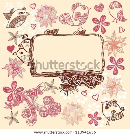 floral pattern with birds and flowers - stock photo