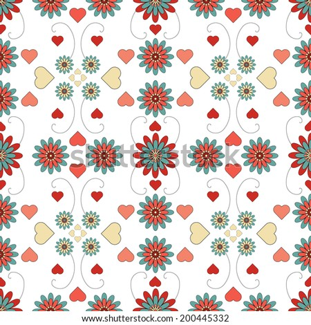 floral patterned tile. Can be used to create seamless backgrounds. Is square for decorative paper printing.  - stock photo