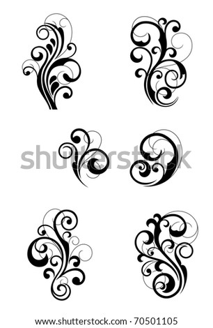 Floral patterns for design isolated on white. Vector version also available in gallery
