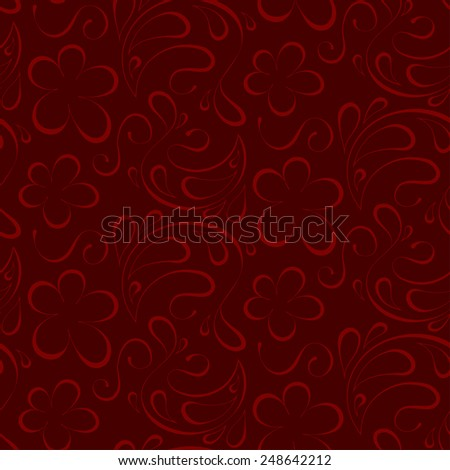 floral seamless background. red pattern to burgundy background - stock photo