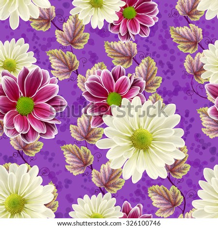floral seamless pattern autumn leaves, chrysanthemum flowers - stock photo