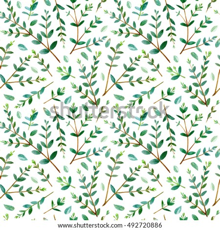 Floral seamless pattern.Eucalyptus branches.Pattern for fabric, paper and other printing and web projects.Watercolor hand drawn illustration.