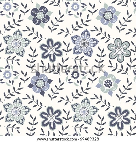 Floral seamless pattern in cold colors