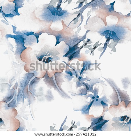 Floral Seamless Pattern. Raster Illustration - stock photo