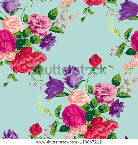 Floral Seamless Pattern.  Use for backgrounds and fill, or create your own virtual home wallpaper. - stock photo