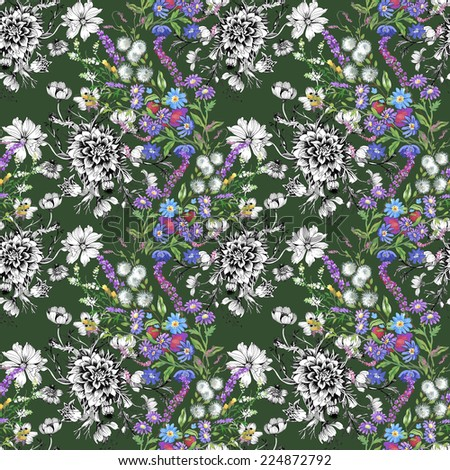 Floral seamless pattern with flowers and leaves on green background