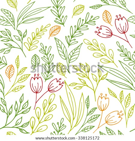 Floral seamless pattern with hand drawn flowers and plants. Raster version - stock photo