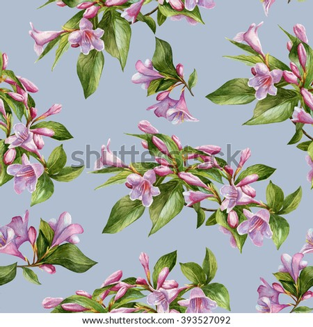 Floral seamless pattern with watercolor pink weigela. Background with bouquets of flowers - stock photo