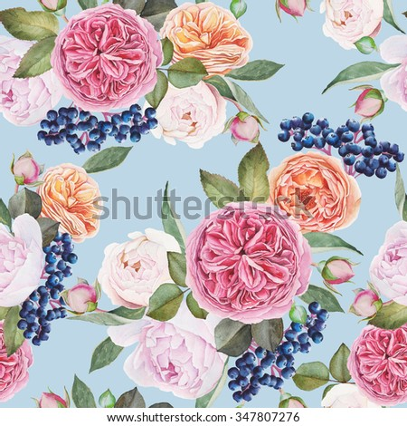 Floral seamless pattern with watercolor roses, peonies, black rowan berries. Background with bouquets of hand drawn watercolor flowers - stock photo