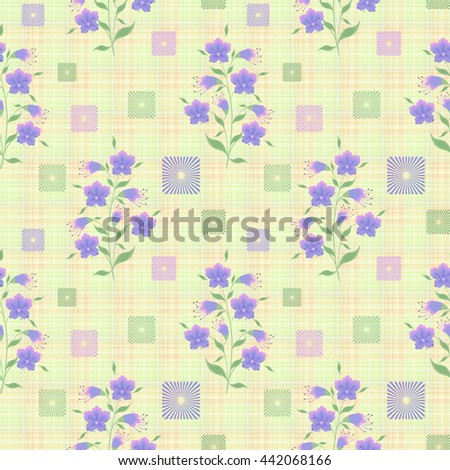 Floral seamless vintage pattern. Retro summer cute style. Stylized silhouettes of flowers and branch on a soft yellow background. green,blue, pink, mint, flowers and leaves - stock photo