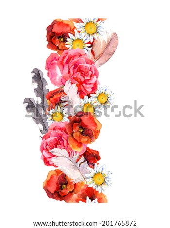 Floral seamless watercolor frame border with bright flowers (poppy, rose) and feathers. Aquarel - stock photo