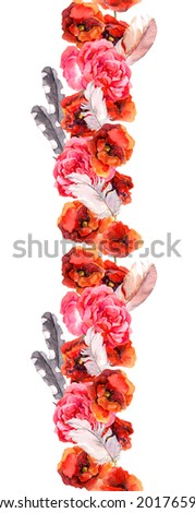 Floral seamless watercolor frame border with colorful flowers (poppy, rose). Aquarel - stock photo