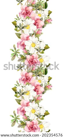 Floral seamless watercolor frame border with pink and white flowers. Aquarel - stock photo