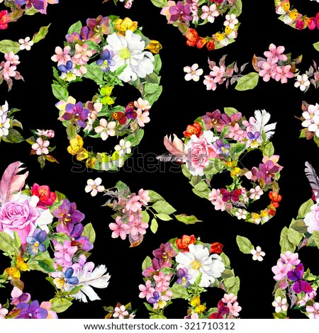 Floral skulls with flowers. Seamless wallpaper for interior design for Dia de los Muertos. Watercolor  - stock photo