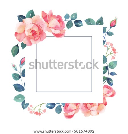 floral square background template with roses