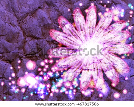 floral style smoke multicolored line ornament sparkle background, flower frame abstract