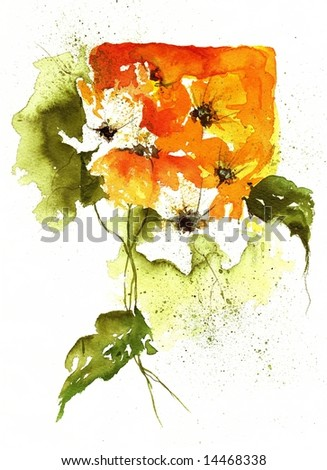 Floral  summer design with hand-painted abstract orange flowers and green leaves on white background. Art is painted and created by photographer. - stock photo
