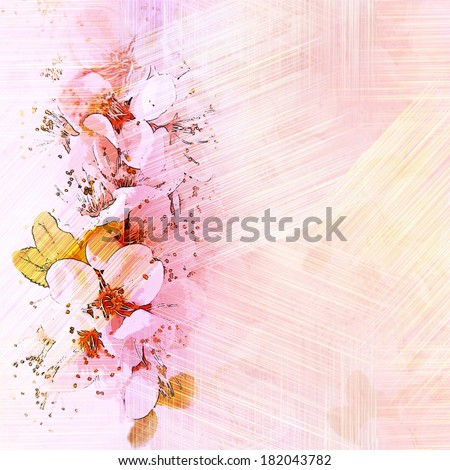 Floral vintage card with sketching cherry flowers on grunge striped background in pastel colors - stock photo