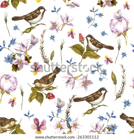 Floral Vintage Seamless Watercolor Background with Sparrows, Watercolor illustration. - stock photo