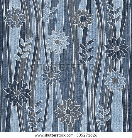 Floral wallpaper - waves decoration - seamless background - jeans texture - stock photo