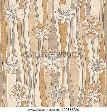 Floral wallpaper - waves decoration - seamless background - White Oak wood texture - stock photo