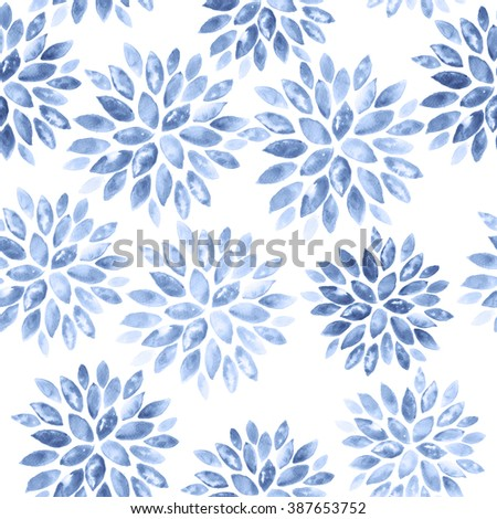 Floral Watercolor Background. Seamless Ornament in Serenity Tint. Watercolour Texture Pattern in Pastel Color. - stock photo