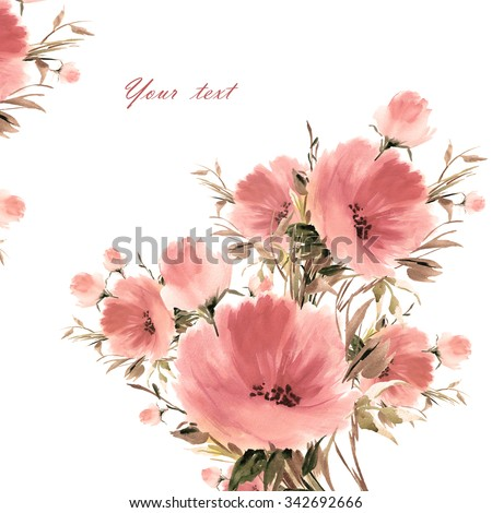 Floral watercolor bouquet of beautiful flowers-3. A vivid illustration and background for your design and decoration. - stock photo
