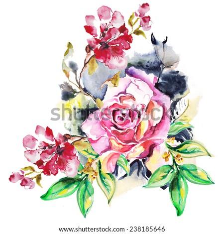 "Floral watercolor illustration. Album""Roses watercolor"" - stock photo"