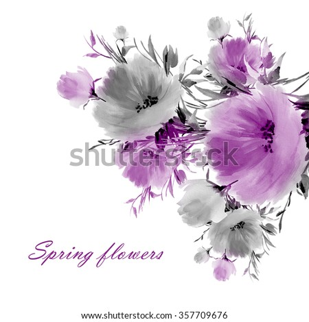 Floral watercolor spring flowers. Beautiful floral background of watercolor sketches for the design and decoration.  - stock photo