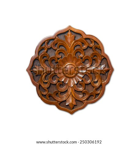 Floral wood carving isolated on white background - stock photo