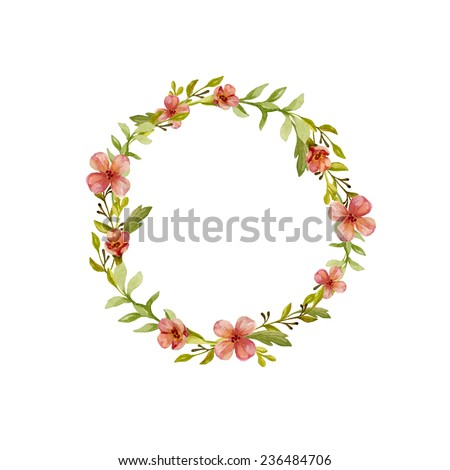 Floral wreath watercolor. Frame made of hand drawn flowers and  leaves. Greeting card or Invitation  - stock photo