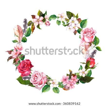Floral wreath with apple or cherry flowers (sakura blossom), roses flowers and feathers. Watercolor round border - stock photo