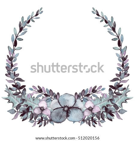 Floral Wreath with Watercolor Grey Foliage and Flowers