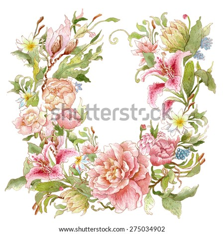 Floral wreath with watercolor peonies, roses, lilies. Blank space for your text. Illustration for greeting cards, invitations, and other printing projects. - stock photo