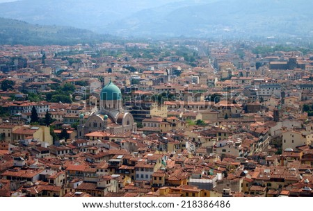 Florence aerial view, Italy - stock photo
