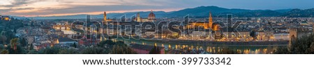 Florence at sunset, Italy - stock photo